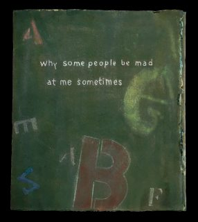 Book cover, a collage of colored letters behind the title