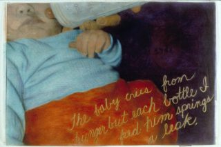 close-up photograph of baby drinking from bottle, hand-colored with pastels and gold lettering about a dream