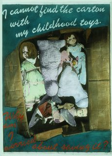 black and white digital photograph, hand-colored with pastels, shows carton full of dolls and hand-written text about a dream