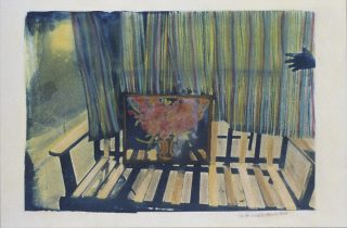 Colorful photo of a bench with a painting on it and a curtain behind it