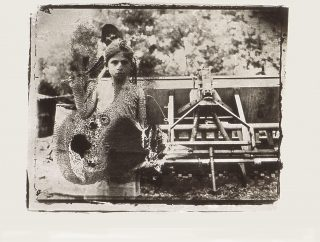 A girl stands in front of a plow